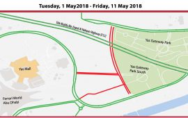 Road closure in YAS Island next to YAS Gateway Park till 11th May
